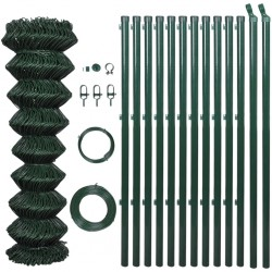 stradeXL Chain Link Fence with Posts Steel 1,25x25 m Green