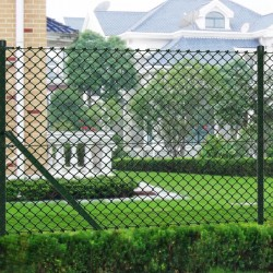 stradeXL Chain Link Fence with Posts Galvanised Steel 1.5x25 m Green