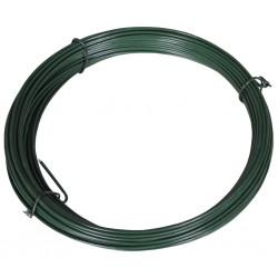 stradeXL Drut naciągowy do ogrodzenia, 25 m, 1,4/2 mm, stalowy, zielony