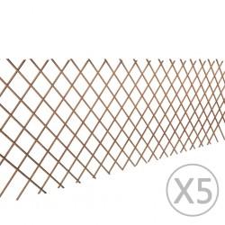 stradeXL Płot kratka z wierzby, 5 szt., 180 x 90 cm