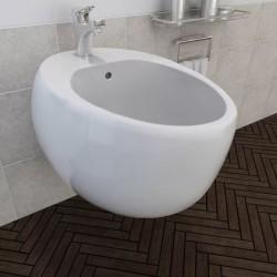 stradeXL Bidet ścienny, biały, ceramiczny