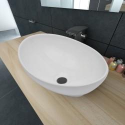 stradeXL Luksusowa ceramiczna umywalka, owalna, biała, 40 x 33 cm