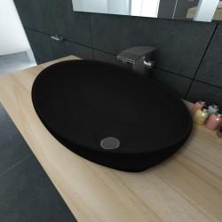 stradeXL Luksusowa ceramiczna umywalka, owalna, czarna, 40 x 33 cm