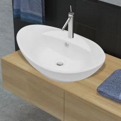 stradeXL Luksusowa umywalka owalna z otworem przelewowym i na baterię