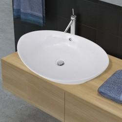 stradeXL Luksusowa owalna umywalka z otworem przelewowym, 59 x 38,5 cm
