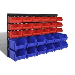 Wall Mounted Garage Plastic Storage Bin Set 30 pcs Blue & Red