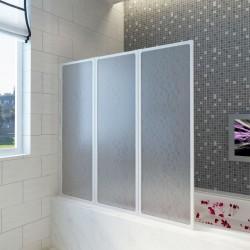 Shower Bath Screen Wall 117 x 120 cm 3 Panels Foldable