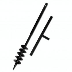 Ground Drill with Handle Auger Bit 100 mm Double Spirals Steel Black