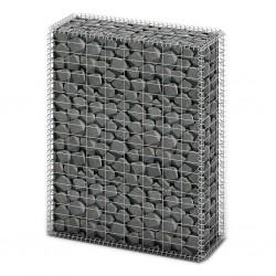 stradeXL Kosz gabionowy z pokrywami, drut galwanizowany, 100x80x30 cm