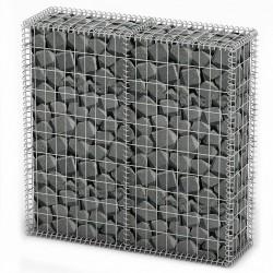 stradeXL Kosz gabionowy z pokrywami, drut galwanizowany, 100x100x30 cm