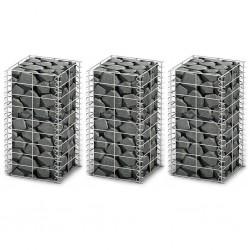 stradeXL Gabion Set 3 pcs Galvanised Wire 25 x 25 x 50 cm