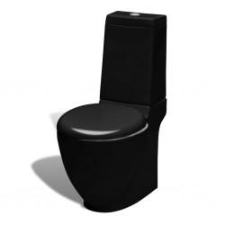 stradeXL Ceramiczna toaleta ze spłuczką, okrągła, odpływ pionowy, czarna