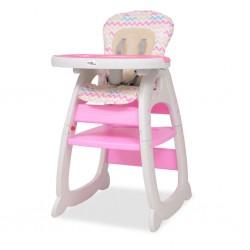 stradeXL Wysokie krzesełko 3 w 1 z różowym stołem