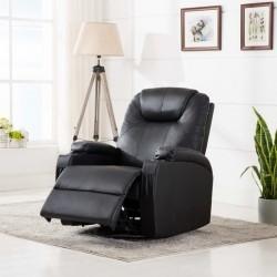 stradeXL Bujany fotel do masażu, czarny, sztuczna skóra