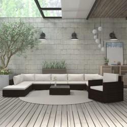 stradeXL 11-cz. zestaw wypoczynkowy do ogrodu, poduszki, rattan PE, brąz