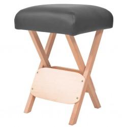 stradeXL Składany stołek do masażu, grubość siedziska 12 cm, czarny