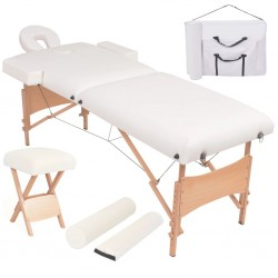 stradeXL Składany, dwuczęściowy stół do masażu ze stołkiem, biały