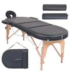 stradeXL Składany stół do masażu z 2 wałkami, grubość 4 cm, czarny