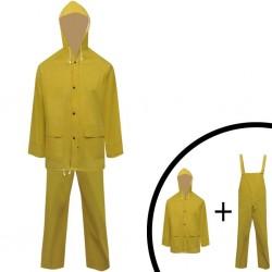 Wodoodporny 2 częściowy komplet przeciwdeszczowy z kapturem żółty XL