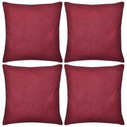 4 Burgundy Cushion Covers Cotton 40 x 40 cm