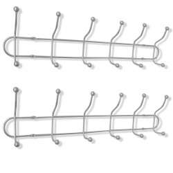 stradeXL Steel Wall Peg Board with 12 Hooks 2 pcs