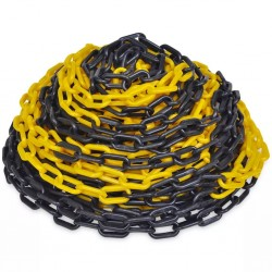 Plastikowy łańcuch ostrzegawczy, 30 m, żółto-czarny