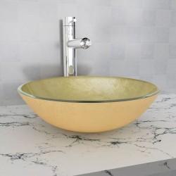 stradeXL Umywalka z hartowanego szkła 42 cm, kolor złota
