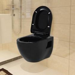 stradeXL Toaleta wisząca, ceramiczna, czarna