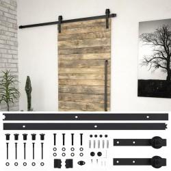 stradeXL System do montażu drzwi przesuwnych, 183 cm, stal, czarny