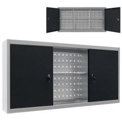 stradeXL Ścienna szafka narzędziowa, metalowa, szaro-czarna
