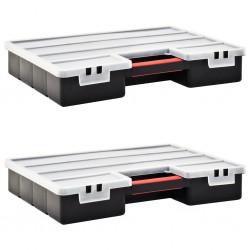 stradeXL Organizery, 2 szt., z przestawnymi przegródkami, 460x325x80 mm