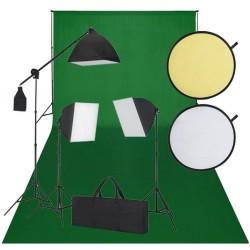 Zestaw do studio: zielone tło, 3 lampy światła ciągłego i blenda