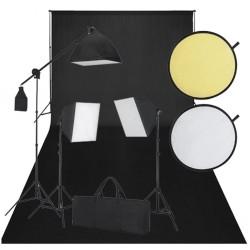 Zestaw do studio: czarne tło, 3 lampy światła ciągłego i blenda