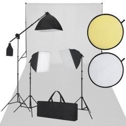 Zestaw do studio: białe tło, 3 lampy światła ciągłego i blenda