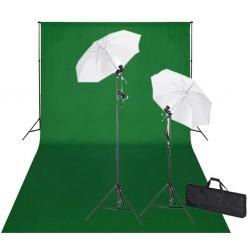 stradeXL Zestaw do studia fotograficznego: zielone tło 6 x 3 m i światła
