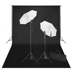 stradeXL Zestaw do studia fotograficznego: czarne tło 6 x 3 cm i światła