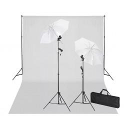 stradeXL Zestaw do studia fotograficznego, białe tło 6 x 3 m i światła