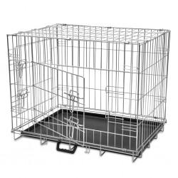 stradeXL Składana, metalowa klatka dla psa, rozmiar L