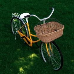 stradeXL Kosz rowerowy z pokrywą, na kierownicę, 50x45x35 cm, naturalny