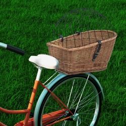 stradeXL Tylny kosz rowerowy z pokrywą, 55x31x36 cm, wiklina
