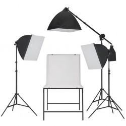 stradeXL Oświetleniowy zestaw softbox do studia ze stołem do fotografii