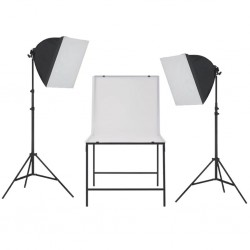 stradeXL Zestaw oświetleniowy softbox do studia ze stołem fotograficznym