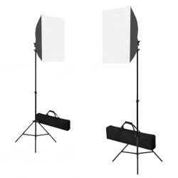 stradeXL Profesjonalne lampy studyjne, 2 szt., 40x60 cm, stalowe, czarne