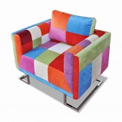 stradeXL Fotel w formie kostki z chromowaną podstawą, patchworkowy