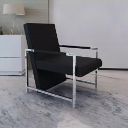 stradeXL Fotel z chromowanymi nóżkami, czarny, sztuczna skóra