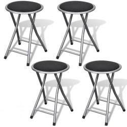 stradeXL Składane stołki barowe składane, 4 szt., sztuczna skóra