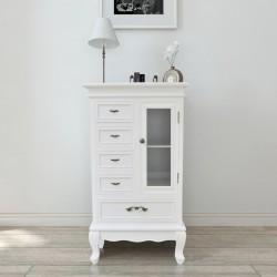 stradeXL Szafka z 5 szufladami i 2 półkami, biała