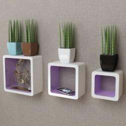 3 biało fioletowe półki ozdobne MDF Cube