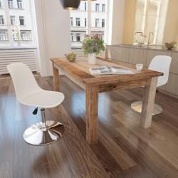 stradeXL Obrotowe krzesła stołowe, 2 szt., białe, sztuczna skóra