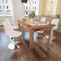 stradeXL Obrotowe krzesła stołowe, 4 szt., białe, sztuczna skóra